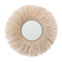 BLOOMINGVILLE vægspejl - natur sukkerør og spejlglas, rund (Ø95)