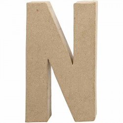 Bogstav N. H:20,2 cm. 1 stk. Papmaché
