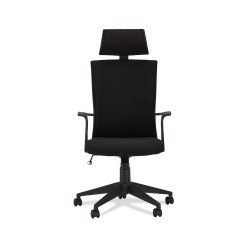 Bolero kontorstol, m. armlæn og hjul - sort stof