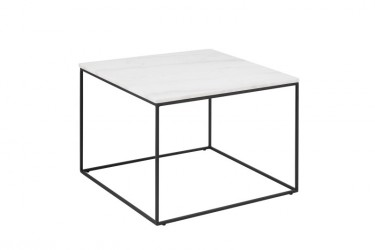 Bolton sofabord - hvid marmor/metal, kvadratisk