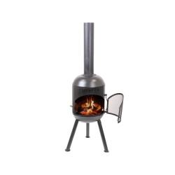 BONFEU Bonsolo udepejs - sort stål, inkl. grill tilbehør (H:124 cm)