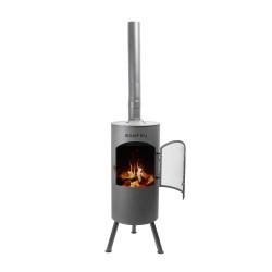 BONFEU Bontino LP udepejs - sort stål, inkl. grill tilbehør (H:164 cm)