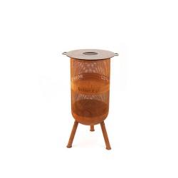 BONFEU BonVes brændekurv med mulighed for grillrist - rust metal, rund (ø:34) Med