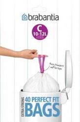 Brabantia Affaldsposer C, 10-12Ltr [Dispenser Pack med 40 poser] White