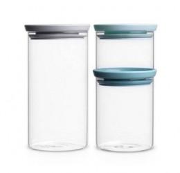 Brabantia Glasbeholder Stabelbar Sæt med 3 (0.3, 0.7 och 1.1 Ltr) Glas/ låg: Gråt, Mørkegråt samt Mint