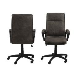 Brad skrivebordsstol m. armlæn og hjul - antracitgrå stof og sort nylon