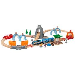 BRIO togbanesæt - Smart Tech lyd - Action tunnel rejsesæt - 37 dele