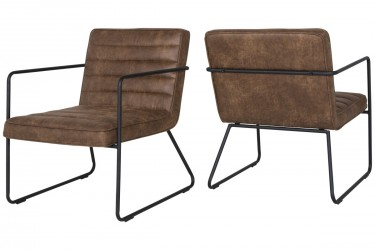 CANETT Pelham loungestol - cognacfarvet læderlook og sort metal, m. armlæn