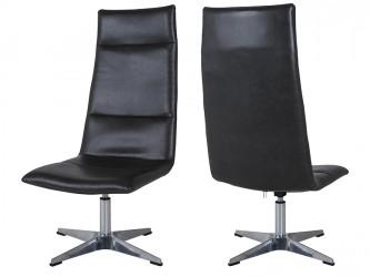 CANETT Rye Brook loungestol - sort kunstlæder m. aluminium fod, m. tilt- og drejefunktion