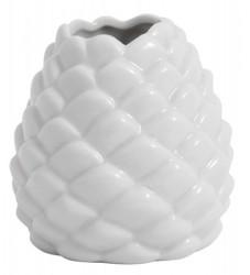 Ceramic pine cone vase, white