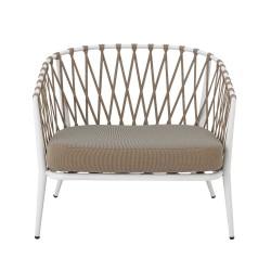 CREATIVE COLLECTION Cia loungestol til haven, m. hynde - polyester og hvid metal