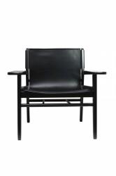 Cris loungestol - sort bøgetræ og ægte sort læder, m. armlæn