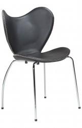 Danform - Butterfly Spisebordsstol - Sort læder/krom