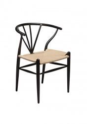 Danform - Delta Spisebordsstol - Sort m. Natur sæde