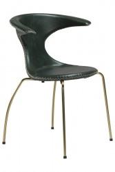 Danform - Flair Spisebordsstol - Grøn læder, guld