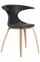 Danform - Flair Spisebordsstol - Sort læder, eg