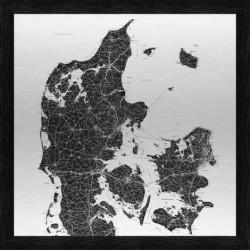Danmarkskort metal (90x90 cm)