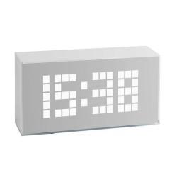 Digital vækkeur med alarm - hvid