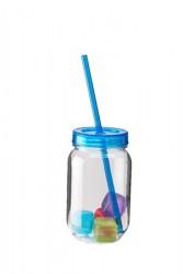 Dorre Glas hårdplast blåt lågsugerør 4 st isterninger 50 cl