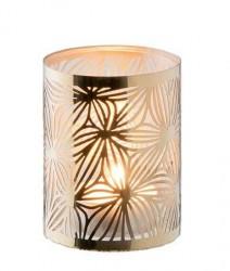 Dorre Lysholder messing med glas rør mønster 7,5 cm