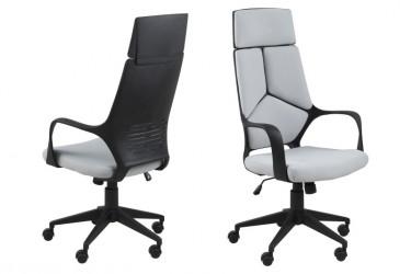 Dubnium kontorstol - lysegrå stof, sort plast, høj ryg