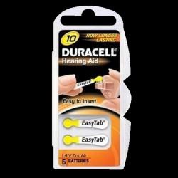 Duracell batterier til høreapparater DA10 - 6 stk