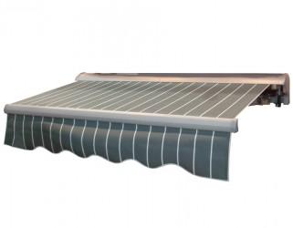 Elektrisk Markise 3,6 x 2,5 meter - Grå/hvid stribet