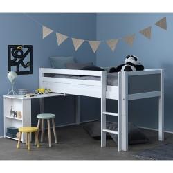 Flexa Basic halvhøj børneseng med skrivebord - Nordic - Hvid/grå