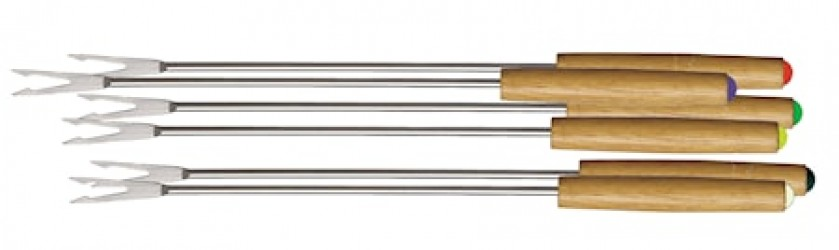 Fondue-gafler, træskæft, 6-pak