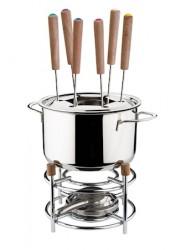 Fonduesæt rustfri med stativ og 6 stk gafler højde 24cm