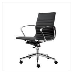 FTI American Style Wye kontorstol - sort læder, m. hjul, armlæn og lav ryg
