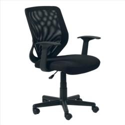 FTI W 92 kontorstol - sort stof og plastik, m. hjul og armlæn
