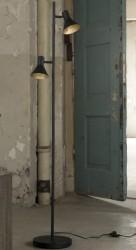 FURBO Arkitekt gulvlampe, m. 2 lampeskærme - sort metal m. guld (H:143)