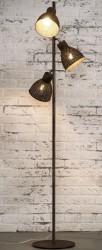 FURBO gulvlampe - brunt patineret jern, m. 3 lampeskærme (H 174)