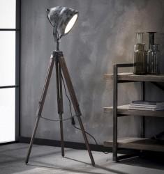 FURBO gulvlampe - gråt patineret metal og 3 træben (H 116)
