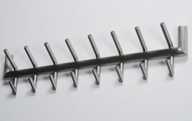 FURBO knagerække - børstet stål, m. 8 dobbelt kroge (L 78)