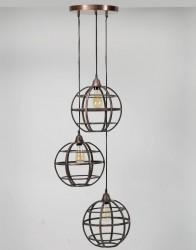 FURBO loftslampe, m. 3 lampeskærme - antik kobber (Ø50)