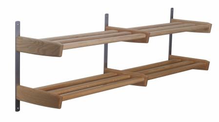 FURBO Meja dobbelt skohylde - natur træ og stål, m. 2 hylder, til væg (B 115)