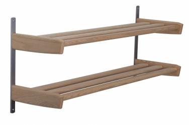 FURBO Meja dobbelt skohylde til væg, m. 2 hylder - natur træ og stål (B:59)