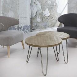 FURBO sofabordssæt - massivt mangotræ m. hvid antik finish og stålstel (2 dele)