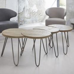FURBO sofabordssæt - massivt mangotræ m. hvid antik finish og stålstel (4 dele)