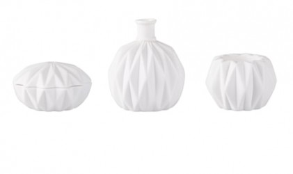 Fyrfadsstage - Vase, Krukke m. låg - 3 stk. - Porcelæn - Hvid - Mat - D 6,4cm - H 8,7cm - Gaveæske - Sæt
