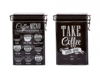 Galzone Kaffedåse - 2 typer usorteret - Metal - Sort - Hvid - H 19,0cm - L 8,0cm - B 12,0cm - 1,50l - Stk.
