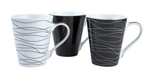 Galzone Krus - 3 typer usorteret - Porcelæn - Hvid - Sort - D 8,0cm - H 10,0cm - 0,30l - Stk.