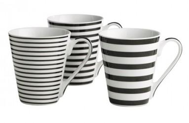 Galzone Krus - m. striber - 3 typer usorteret - Porcelæn - Sort - Hvid - Konisk - Stribet - D 8,5cm - H 10,0cm - 0,30l - Stk.