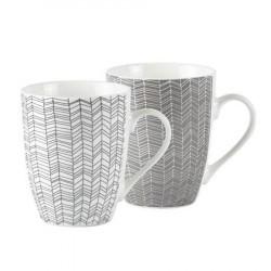 Galzone Krus - Zentangle - 2 typer usorteret - Porcelæn - Hvid - Grå - Mønstret - D 8,5cm - H 10,5cm - 0,30l - Stk.