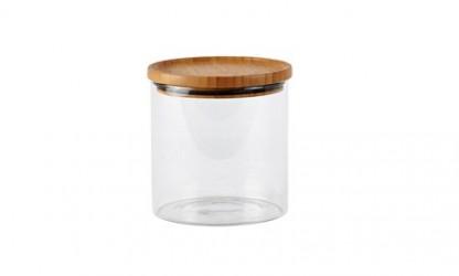 Galzone Opbevaringsglas - m. låg - Glas - Bambus - Klar - Natur - D 12,4cm - H 13,0cm - 0,96l - Stk.