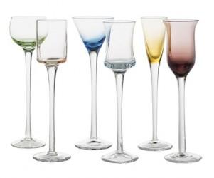 Galzone Shotglas - 6 stk. - Glas - Multicolor - D 4,0cm - H 18,0cm - Gaveæske - Sæt