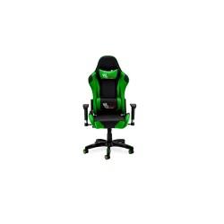 Gaming stol - sort/grøn kunstlæder, med armlæn