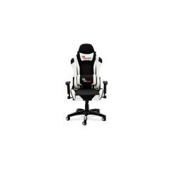 Gaming stol - sort/hvid kunstlæder, med armlæn